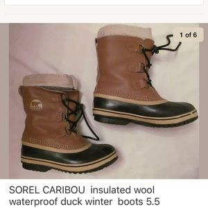 SOREL CARIBOU such tan and black waterproof boots